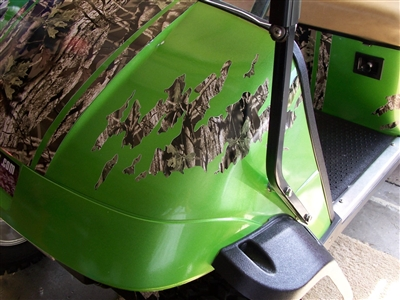 Green EZGO w/ ripped Splash Mossy Oak CAMO Decals