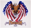 American Flag FREEDOM Attack Eagle Full color Graphic Window Decal Sticker