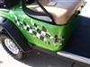 Green EZGO w/ ripped Splash RACING CHECKERED FLAG