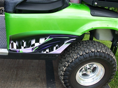 Green EZGO w/  Full Color Small Side Adrenanline Rush Decal