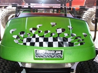 Green EZGO w/ Full Color Spalsh Racing Checkered Flag on Hood
