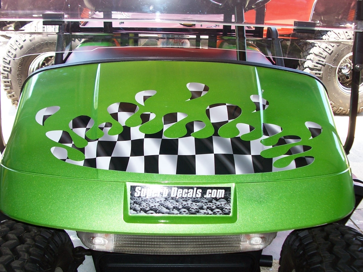 Golf Cart Full Color Splash Racing Checkered Flag Hood And