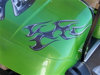 Green EZGO w/ Real Metal Full Color Tribal Flame Graphics