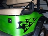 Green Golf Cart w/ Black Tribal Flames