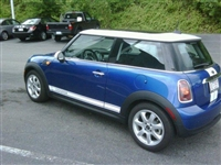 "Blue Mini Cooper w/ White Mini ""Cooper"" Side Stripes"