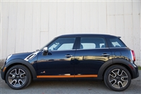 Black Mini Cooper w/ Orange 1 Color Rocker Stripes