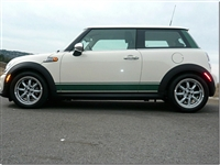 White Mini Cooper w/ Green Side Stripes
