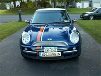 Blue Mini Cooper w/ Orange and Silver 2 color offset Bonnet Boot Rocker Stripe