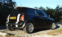 Black Mini Cooper w/ White Mini Boot Stripes
