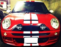 Red Mini cooper w/ White Rally Stripe & red Stripe on roof