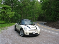White Mini Cooper w/ Black Bonnet Stripes