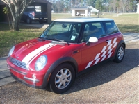 Red Mini Cooper w/ White Racing Check
