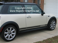"White Mini Cooper w/ Black ""Cooper"" text Decal"