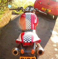 Red Motorcycle w/ Check Stripe Kit