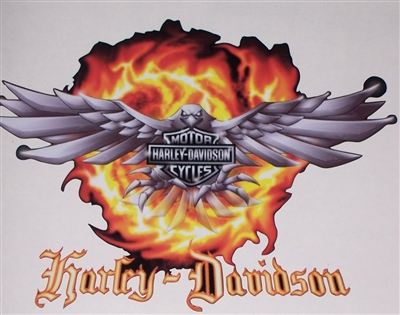 Harley Davidson Eagle Flames Decal