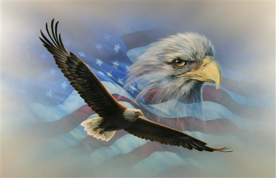 American Flag Soaring Bald Eagle Decal