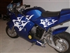 Blue Mini Bike w/ white Tribal flame Decals