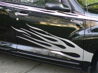 Black PT Cruiser w/ Silver Flame Side Decal Set