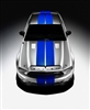 "Silver Car w/ Vivid Blue 9"" Rally Stripes"