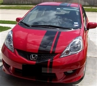 "Red Toyota w/ Black 10"" Offset Rally Stripes"