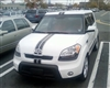 White Kia w/ Black Center Rally Stripe set