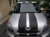 "silver Kia w/ Black 10"" Rally Stripes"