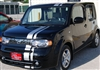 "Black Nissan Cube w/ Silver 7"" Offset Rally Stripes"