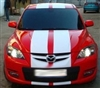"Red Car w/ White 10"" Rally Stripes"