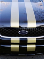 "Black Ford Hood w/ Gold 5"" Rally Stripes"