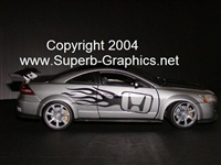 Silver Honda w/ Black Flames Side Decal