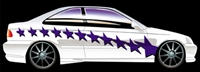 White Car w/ Purple Stars Side Graphics