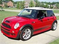 Red Mini Cooper w/ Black Faded Rocker Stripe