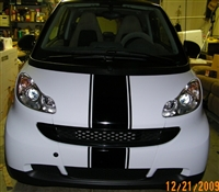 "White Smart Car w/ Black 10"" Center Stripe"