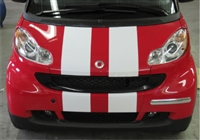 Red Smart Car w/ White Rally Stripes