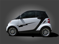 Gray Smart Car w/ Black Lighting Bolt Side Decal