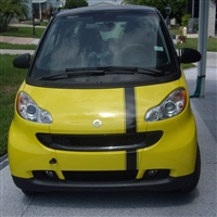 Yellow Smart Car w/ Black Offset Stripe