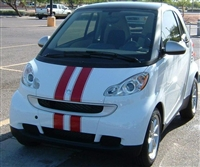 White Smart Car w/ Red Viper Stripes