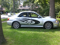 Silver Subaru w/ Black Subaru Rally Decal