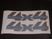 4x4 # 2 Two Color (Silver w/ Blue Stripe) Bed Decal