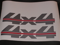 4x4 # 2 Two Color (Silver w/ Red Stripe)Bed Decal