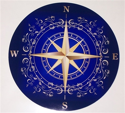 Blue Rose compass Decal