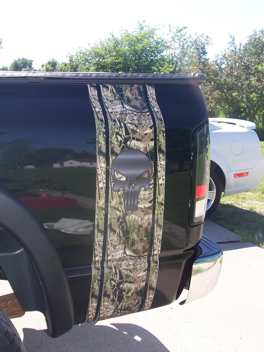 PAIR Printed Mossy Oak CAMO Punisher Skull Truck Bed Stripe Decals - Truck bed decals custom