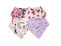 Unik Baby Organic Cotton Bandana Drool Bibs for Girls Set of 4