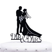 Romantic Mr. & Mrs. Bride and Groom Silhouette Acrylic Cake Topper