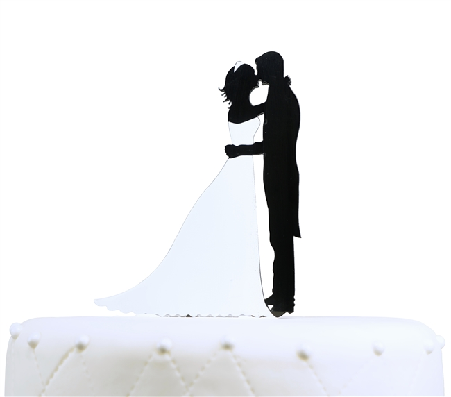 Bridal Couple Silhouette Acrylic Cake Topper