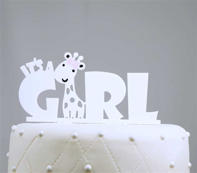"""It's A Girl Baby Acrylic Cake Topper"