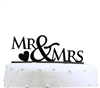 Mr & Mrs Acrylic Wedding Cake Topper with Heart - Black