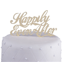 """Happily Ever After"" Acrylic Wedding Cake Topper - Gold Mirror"