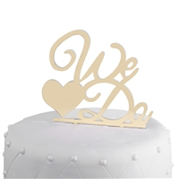 """We Do"" Acrylic Wedding Cake Topper - Gold Mirror"