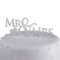 Mr & Mrs Acrylic Wedding Cake Topper with Heart - Silver Mirror